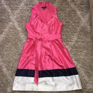 Charming Watermelon Pink/ Navy/ White dress